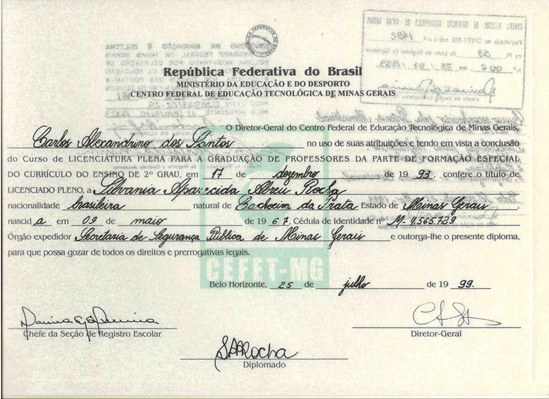 Certificado CEFET MG 1999 - Licenciatura Plena em Contabilidade de Custos, Contabilidade Geral e Estatística nível Pós Graduação